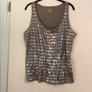 Silver with sparkle sleeveless top